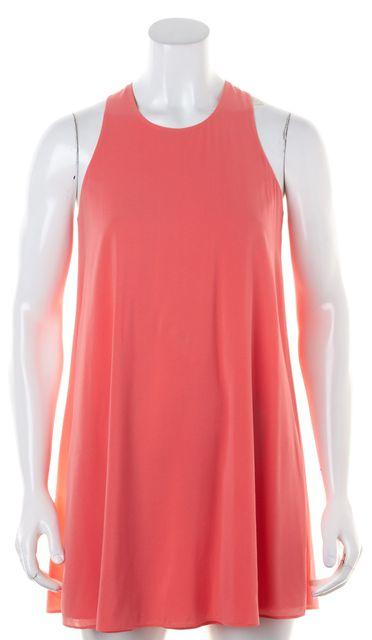 ALICE + OLIVIA Bubblegum Pink Knotted Racerback Silk Shift Dress