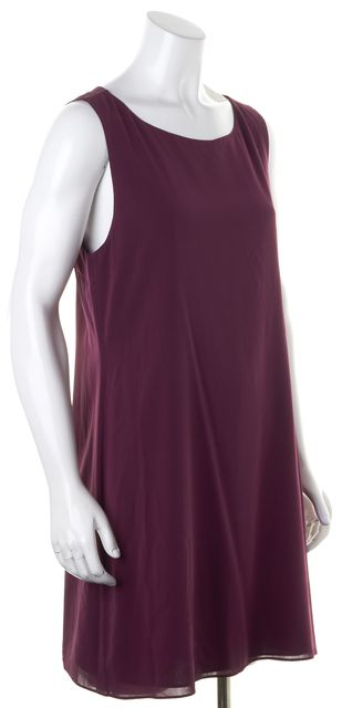 ALICE + OLIVIA Purple Crepe Silk Diamond Open Back Shift Dress