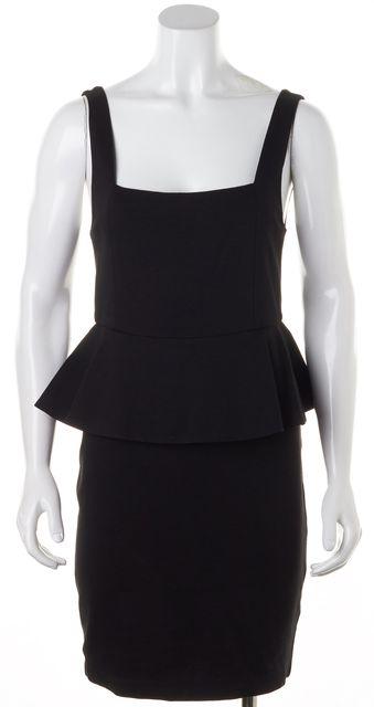 ALICE + OLIVIA Black Stretch Ponte Jersey Sleeveless Peplum Sheath Dress