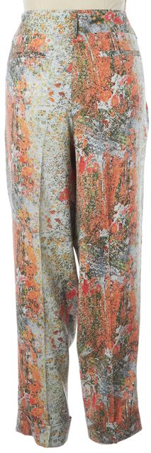 ALICE + OLIVIA Multi-Color Abstract Floral Silk Cuffed Leg Trousers Pants