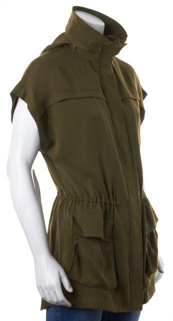 ALICE + OLIVIA Olive Green Cinched Waist Hooded Vest Jacket