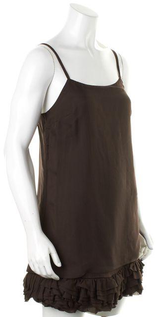 ALICE + OLIVIA Brown Silk Spaghetti Straps Ruffle Hem Mini Shift Dress