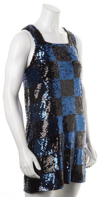 ALICE + OLIVIA Blue Black Sequin Embellish Checkered Mini Shift Dress