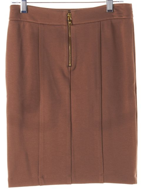 ALICE + OLIVIA Camel Brown Stretch Jersey Pencil Skirt
