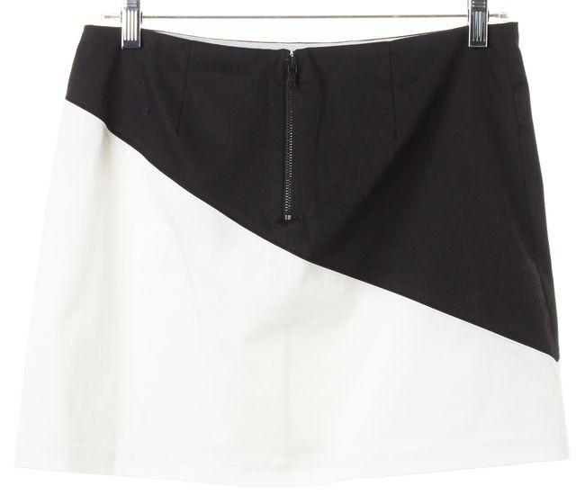 ALICE + OLIVIA White Black Color Block Above Knee A-Line Skirt