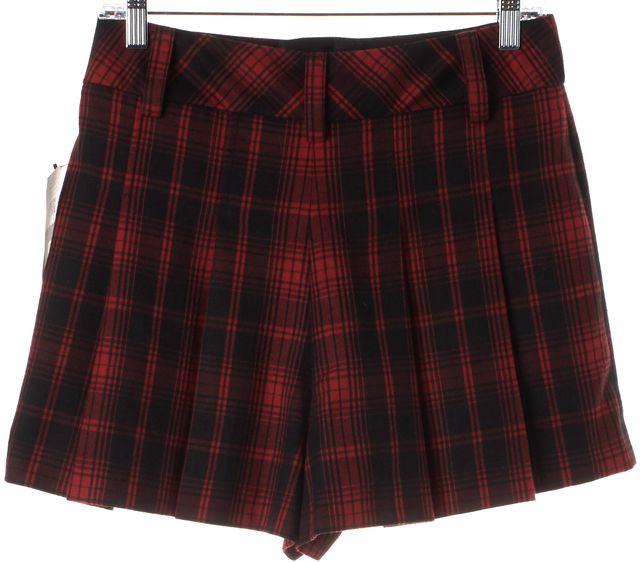 ALICE + OLIVIA Red Black Plaid Print Pleated Wide Leg Shorts