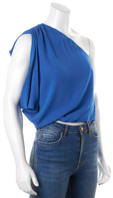 ALICE + OLIVIA Blue Silk One Shoulder Blouson Top