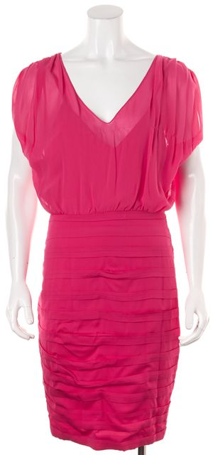 ALICE + OLIVIA Pink Silk Sleeveless Above Knee Blouson Dress