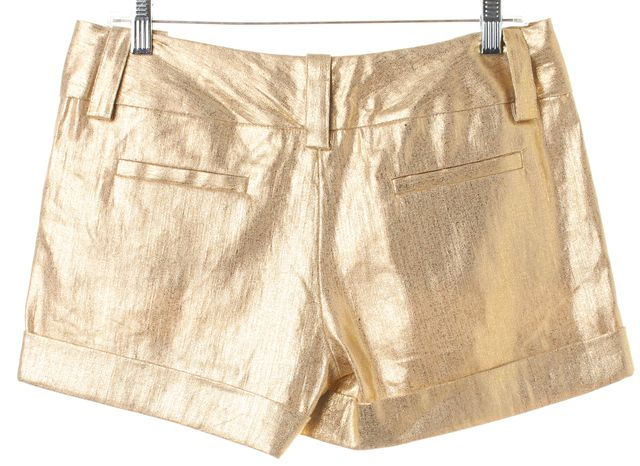 ALICE + OLIVIA Gold Metallic Brushed Linen Casual Shorts