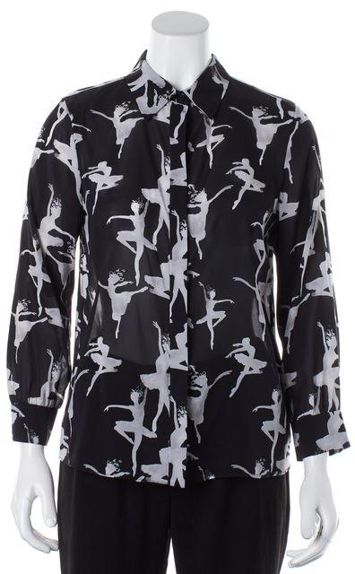 ALICE + OLIVIA Black White Silk Graphic Ballerina Button Down Shirt Blouse