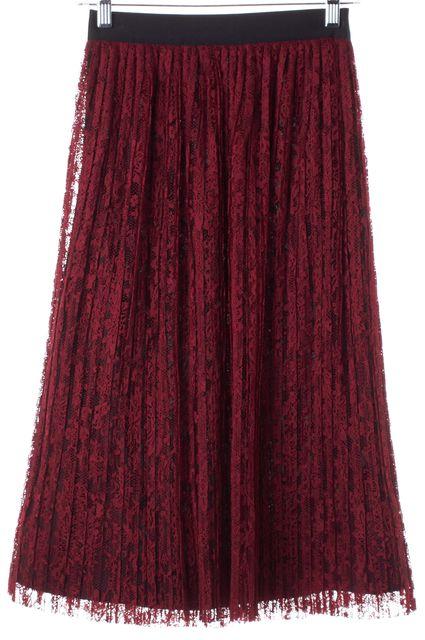 ALICE + OLIVIA Dark Red Black Lace Mid-Calf Pleated Skirt