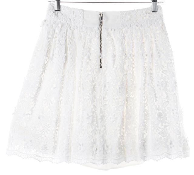 ALICE + OLIVIA White Floral Lace Overlay Cotton Full Skirt