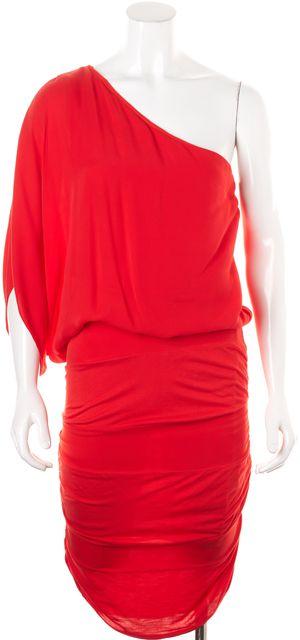 ALICE + OLIVIA Red Above Knee One Shoulder Dress