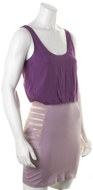 ALICE + OLIVIA Purple Silk Nicky Blouson Dress W Leather Pencil Skirt