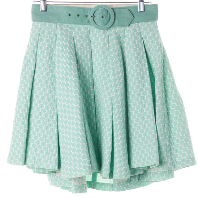 ALICE + OLIVIA Aqua Blue Beige Polka Dot Above Knee Full Skirt