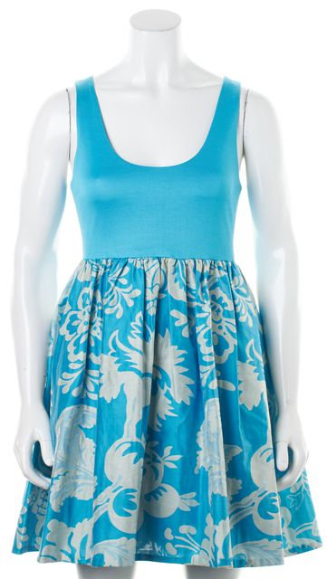 ALICE + OLIVIA Blue Metallic Floral Brocade Sleeveless Fit & Flare Dress