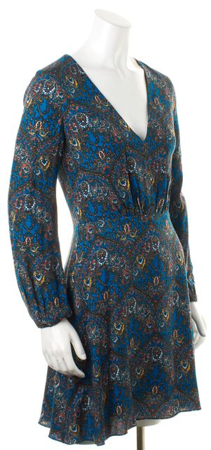 ALICE + OLIVIA Blue Ornate Abstract V-Neck Fit Flare Blouson Dress