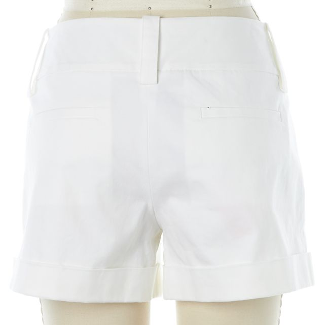 ALICE + OLIVIA White Stretch Cotton Cuffed Casual Shorts