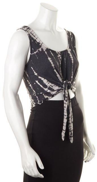 ALICE + OLIVIA Gray Tie Dye Jersey Sleeveless Tie Front Cropped Tank Top
