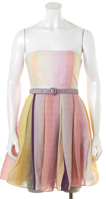 ALICE + OLIVIA Pink Yellow Silk Strapless Belted Fit & Flare Dress