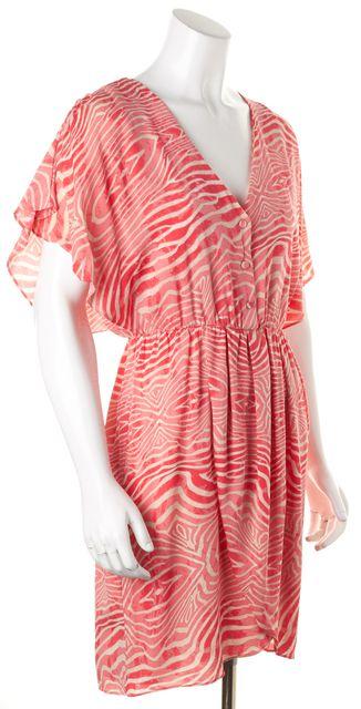 ALICE + OLIVIA Pink White Zebra Print Above Knee V-Neck Wrap Blouson Dress