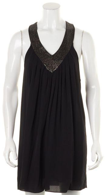 ALICE + OLIVIA Black Silk Sequin Embellished T-Back Shift Mini Dress