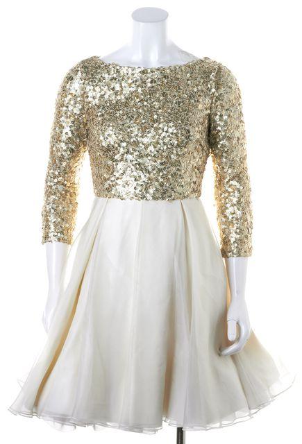ALICE + OLIVIA Ivory Gold Sequin Embellished Organza Tulle Fit Flare Dress
