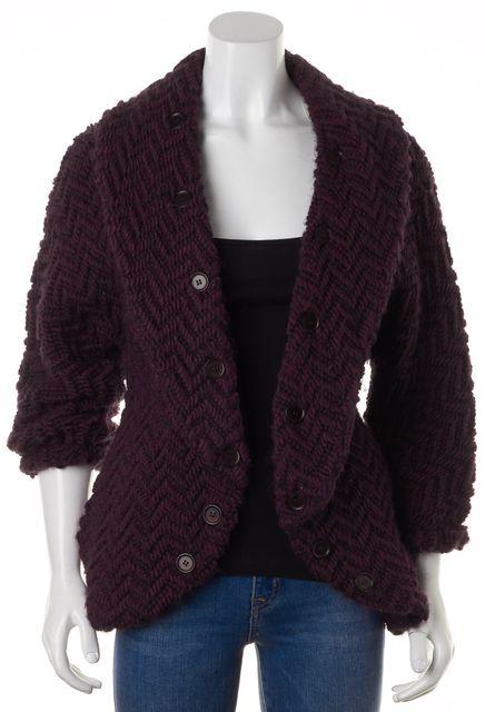 ALICE + OLIVIA Purple Black Chunky Knit Button Trim Open Sweater Coat