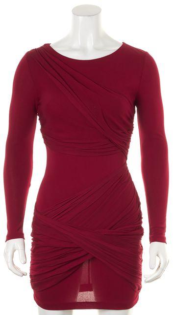 ALICE + OLIVIA Brick Red Draped Cutout Back Sheath Dress