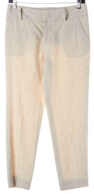 ALICE + OLIVIA Beige Linen Slim Leg Cropped Trousers Pants