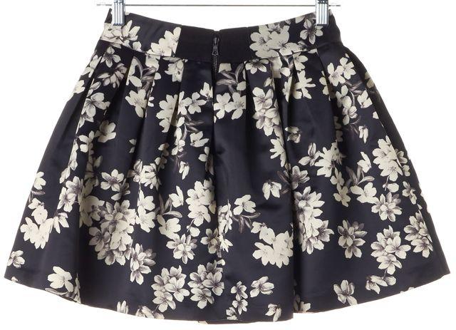 ALICE + OLIVIA Black White Oleander Floral Printed Pleated Mini Skirt