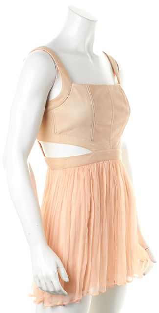 ALICE + OLIVIA Pink Beige Leather Combo Cutout Fit & Flare Long Blouse