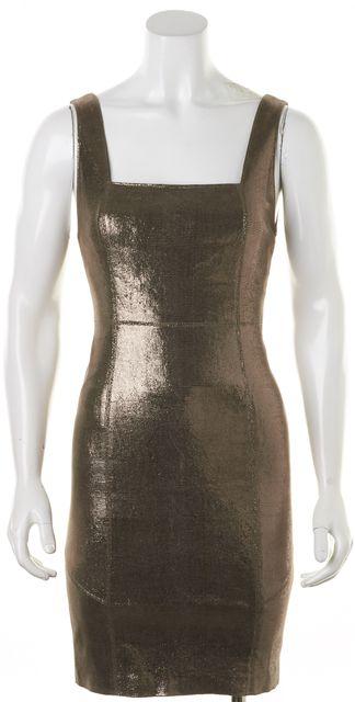 ALICE + OLIVIA Gold Metallic Reptile Embossed Leather Sheath Dress