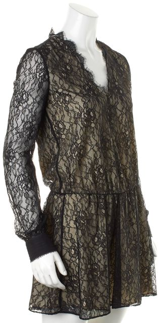 ALICE + OLIVIA Black Lace Overlay Sheer Sleeves V-Neck Blouson Dress