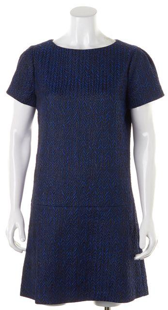 ALICE + OLIVIA Blue Black Textured Chevron Drop Waist Sheath Dress