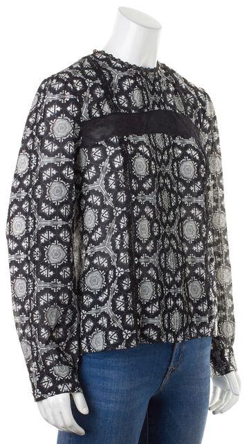 ALICE + OLIVIA Black White Printed Silk Sheer Lace Trim Long Sleeve Blouse