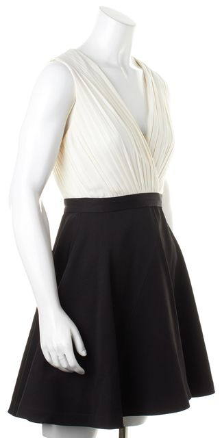 ALICE + OLIVIA Ivory Pleated Wrap V-Neck Top Black Skirt Fit Flare Dress