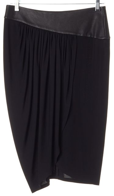 ALICE + OLIVIA Black Jersey Leather Waist Pleated Faux Wrap Pencil Skirt