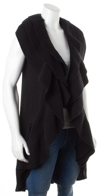 ALICE + OLIVIA Black Sleeveless Open Front Tiered Ruffle Cardigan Sweater