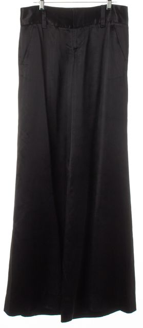 ALICE + OLIVIA Metallic Black Shimmer Satin Wide Leg Trousers Dress Pants