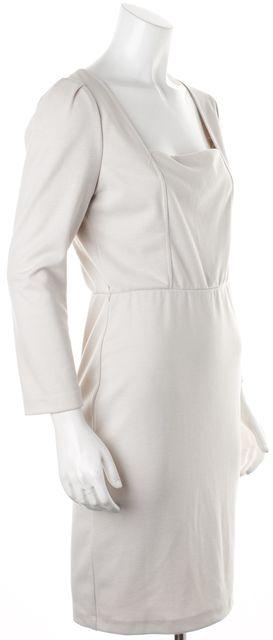 ALICE + OLIVIA Beige Gold Metallic Shimmer Mesh Back Sheath Dress