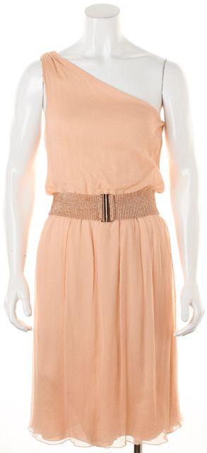 ALICE + OLIVIA Pink Silk Beaded Rose Gold Belt One Shoulder Blouson Dress