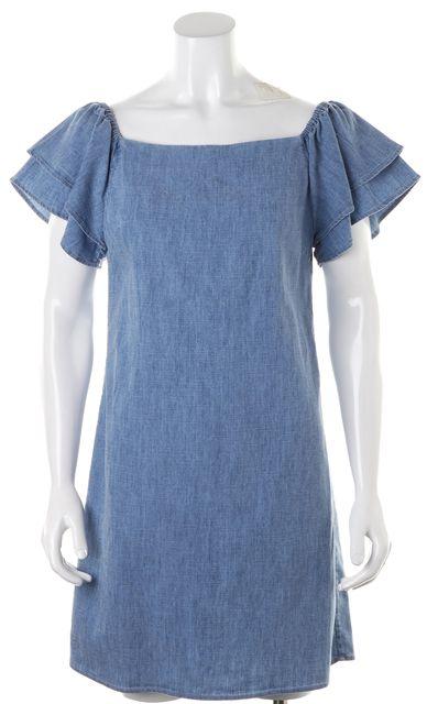 ALICE + OLIVIA Blue Chambray Ruffle Short Sleeve Off-Shoulder Shift Dress