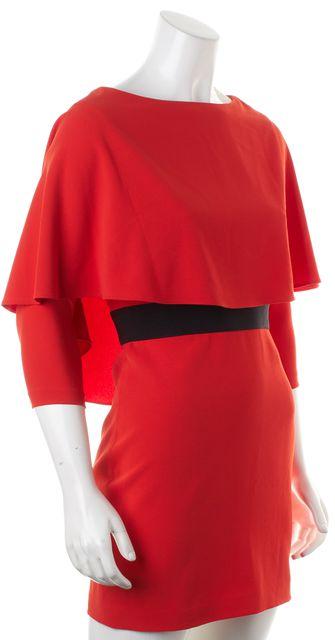 ALICE + OLIVIA Red Black Faux Layer Knee-Length Sheath Dress