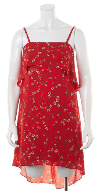 ALICE + OLIVIA Red Green Floral Ruffled Spaghetti Strap Shift Dress