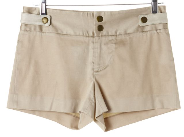 ALICE + OLIVIA Beige Stretch Cotton Sateen Leather Trim Khaki Chino Shorts