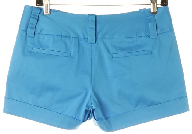 ALICE + OLIVIA Blue Cuffed Cotton Casual Chino Shorts