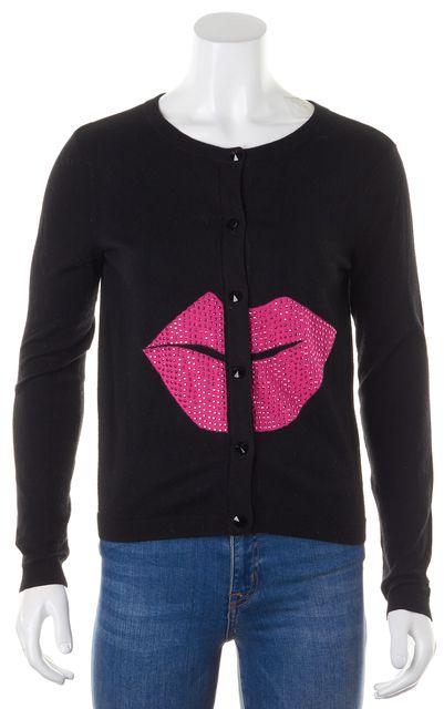 ALICE + OLIVIA Black Pink Jewel Embellished Cardigan