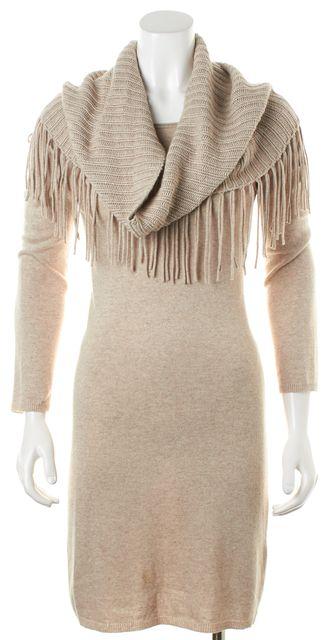 ALICE + OLIVIA Beige Detachable Fringe Shoulder Wrap Sweater Sheath Dress