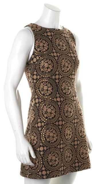 ALICE + OLIVIA Black Beige Gold Floral Sequins Embroidered Sheath Dress